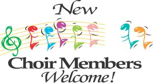 New Choir Members Welcome Sign